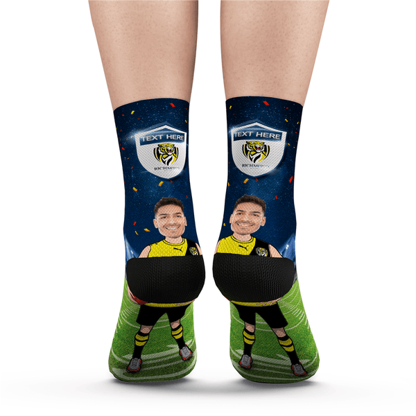 Custom Face Socks Richmond Tigers Superfans AFL With Your Text
