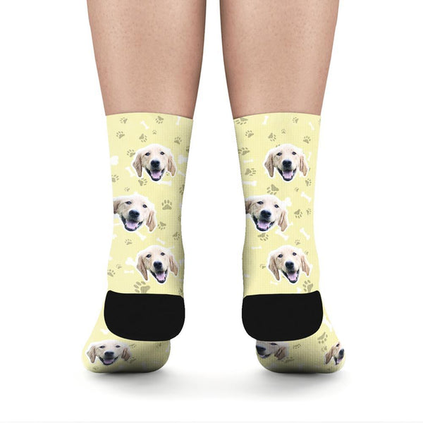 Custom Rainbow Socks Dog With Your Text - Yellow - MyFaceSocksAU
