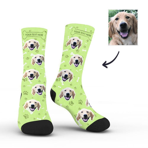 Custom Rainbow Socks Dog With Your Text - Green - MyFaceSocksAU