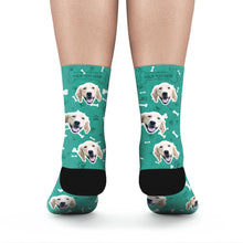 Custom Rainbow Socks Dog With Your Text - Teal - MyFaceSocksAU