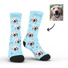 Custom Rainbow Socks Dog With Your Text - Blue - MyFaceSocksAU