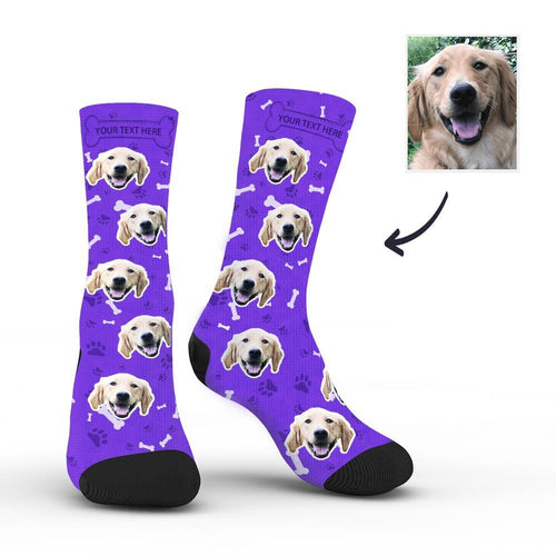 Custom Rainbow Socks Dog With Your Text - Purple - MyFaceSocksAU