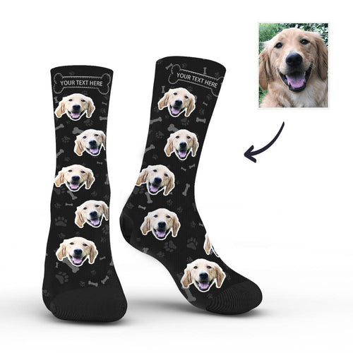 Custom Rainbow Socks Dog With Your Text - Black - MyFaceSocksAU
