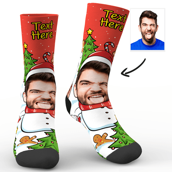 Custom Face Socks Christmas Snowman Socks With Your Saying