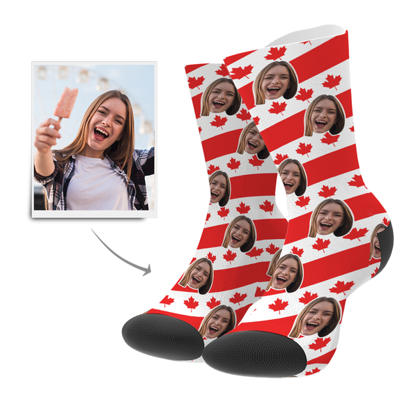 Custom Face Socks CAN Flag