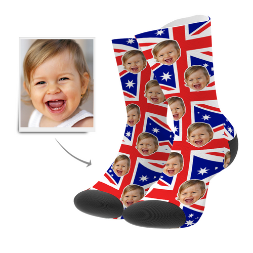 Custom Face Socks AU Flag