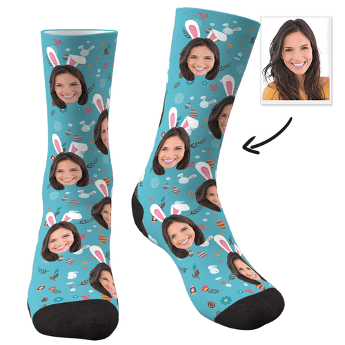 Custom Face Socks Rabbit Ears