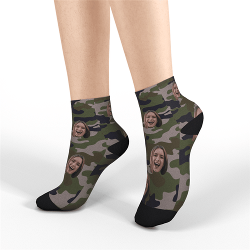 Custom Short Socks Camo - MyFaceSocksAU