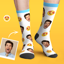Custom Personalized Photo Funny Emoticons Face Socks-Love