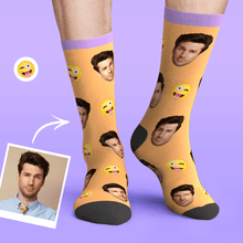 Custom Personalized Photo Funny Emoticons Face Socks-Naughty