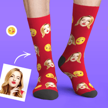 Custom Personalized Photo Funny Emoticons Face Socks-Blow Kiss