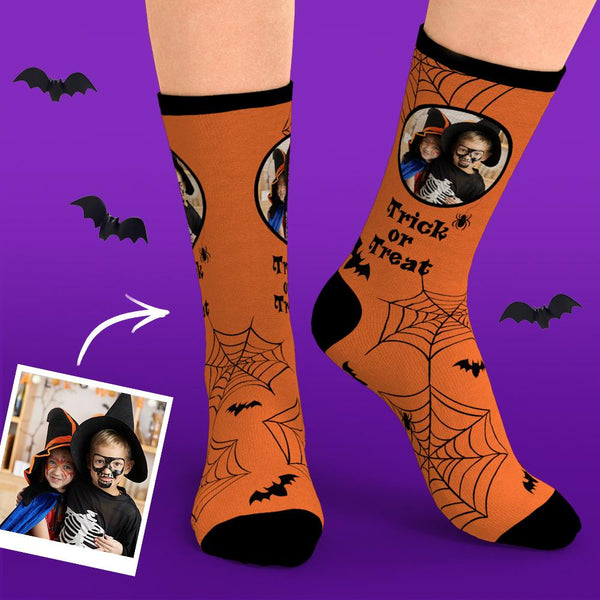 Custom Face Halloween Cobweb Bat Trick Or Treat Socks
