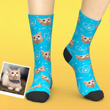 Custom Pet Face Love Heart Cat Paw Socks
