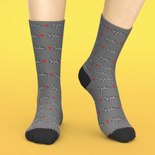 Custom Text Socks Red Love Heart