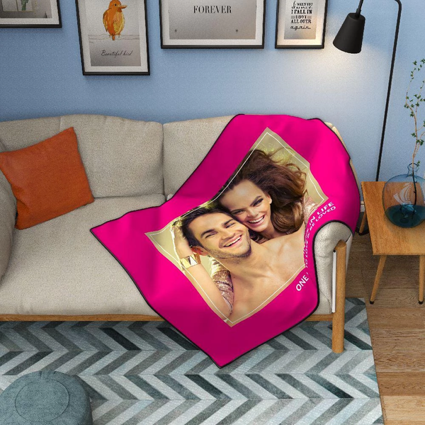 Personalized Love with 1 Photo Fleece Custom Blanket - MyFaceSocksAU