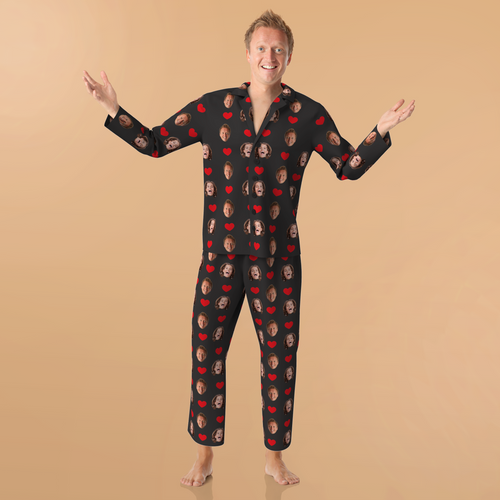 Custom Face Pajamas - Heart Pyjamas