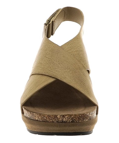 Crisscross Chantal Wedge in Nude