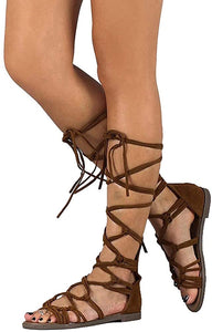 Brown Lace Up Sandal
