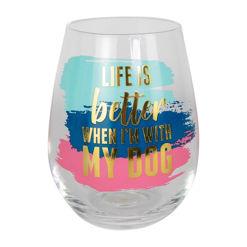 Better With Dog Wine Glass