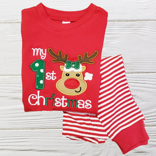 1ST CHRISTMAS PAJAMA - Baby Girl Pajamas - 1st Christmas Gift - Personalized Pajama- 1st Christmas Outfit - Embroidered Dress