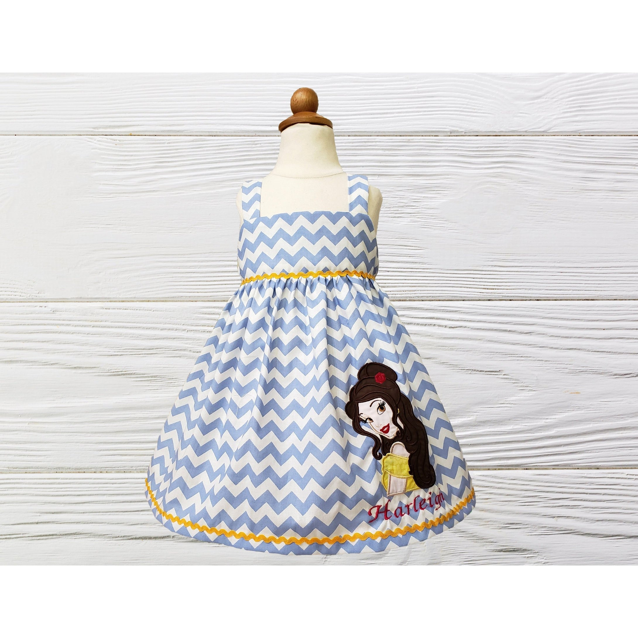 Girl dress Girl Belle birthday dress  Princess Belle toddler dress Personalized  dress