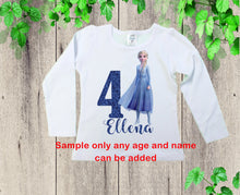 Load image into Gallery viewer, Birthday shirt winter queen inspired Frozen personalized shirt Elsa birthday shirt  princess shirt