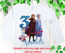 Load image into Gallery viewer, Birthday shirts Personalized shirt Frozen  birthday shirt Custom Elsa Anna  Girls shirts