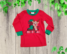Load image into Gallery viewer, BOYS FIRST CHRISTMAS pajama. Baby Boys pajamas Red Green pajamas 1st Christmas pajamas