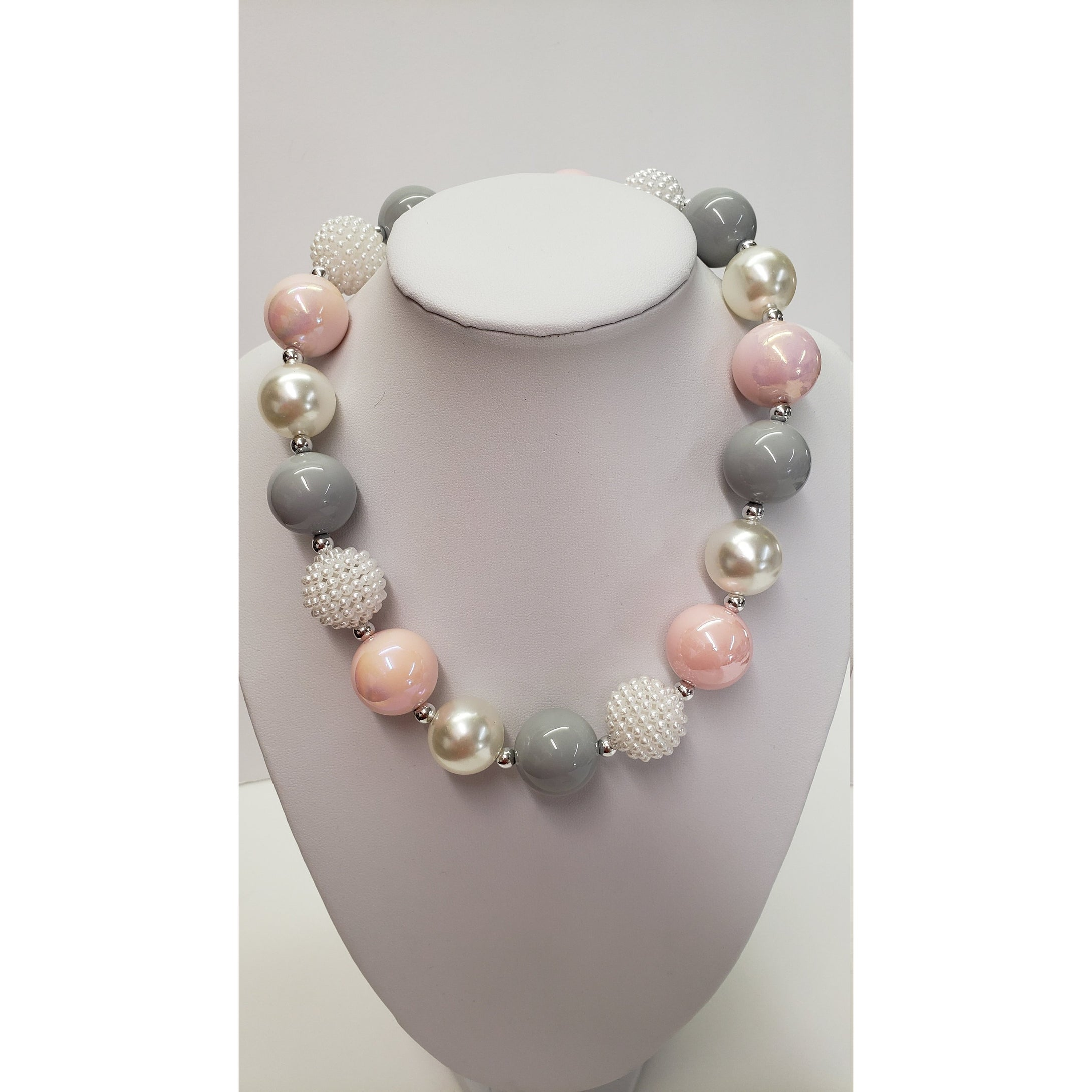Pink- Gray - White Pearls BUBBLE GUM NECKLACE - Chunky Bubble Gum Necklace  - Girls necklace - Toddler bubble gum necklace - Pink- Gray - White Pears Elastic necklace