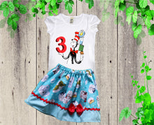 Load image into Gallery viewer, Cat in the Hat birthday outfit Dr Seuss outfit Girl Seuss dress