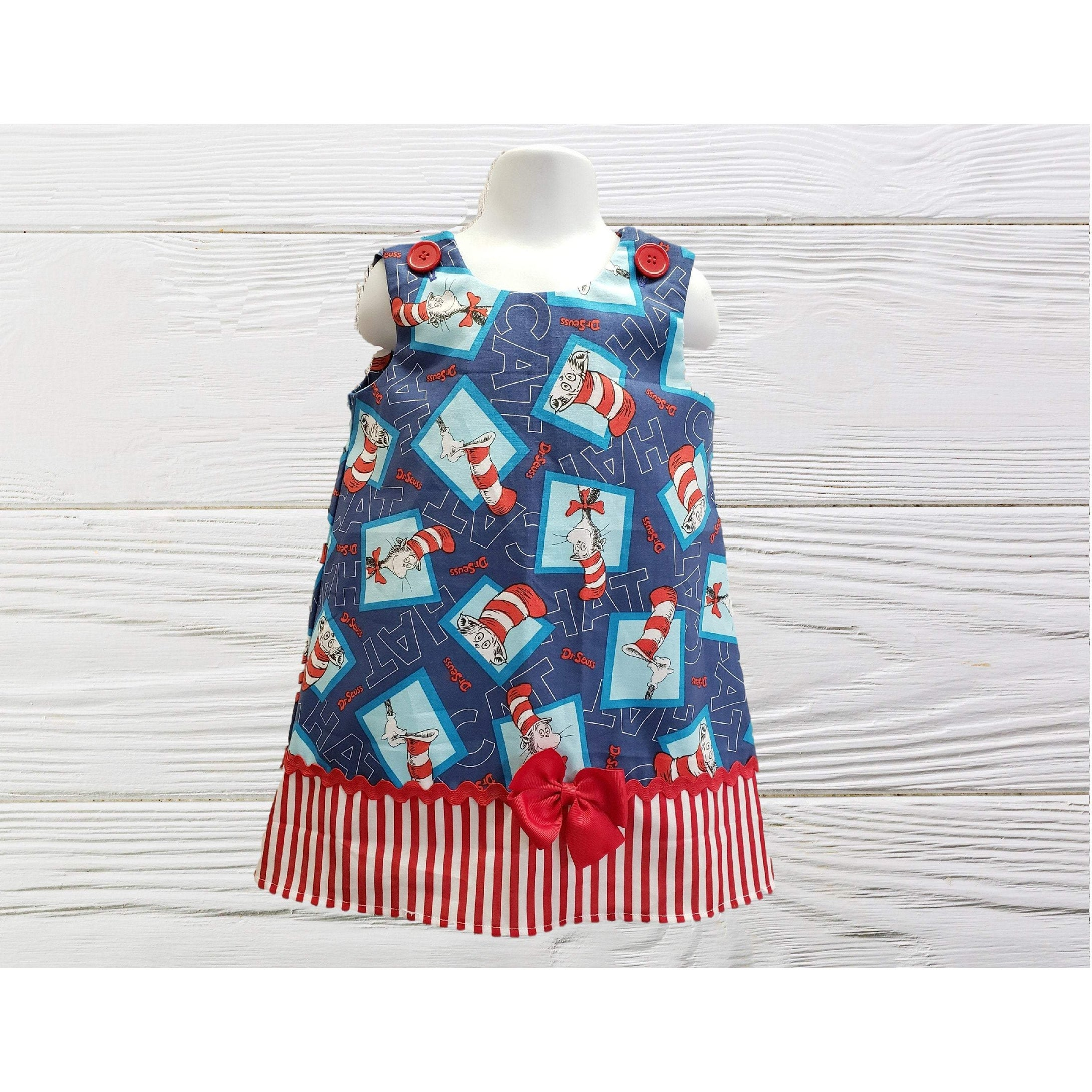 Cat in the Hat dress, Dr Seuss  birthday dress Toddler  girl Dr Seuss  dress