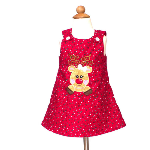 Christmas dress Red polka dots reindeer dress  Christmas reindeer Jumper dress Red Christmas dress