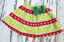 Load image into Gallery viewer, Christmas girls skirts  Toddler Christmas skirt  Red and green Christmas skirts  Girls Skirt