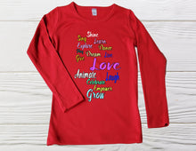 Load image into Gallery viewer, CHRISTMAS SHIRT - Love shirts - Red long sleeve shirts - Girls shirts - Graphic shirts -  Christmas Shirt, Girls Christmas Shirt,
