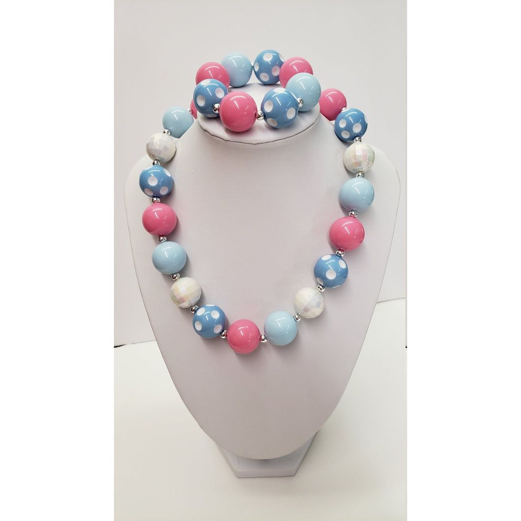 CHUNKY BUBBLE GUM  Necklace Blue Pink White  Bubblegum Necklace - Girl Chunky Necklace - Chunky Bead Necklace - Elastic Necklace, Necklace
