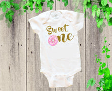 Load image into Gallery viewer, DONUTS BABY ONESIE - Baby Birthday Onesie - Donuts Baby Outfit - Sweet Baby Dress - Baby Girl Onesie - Baby Cotton Dress