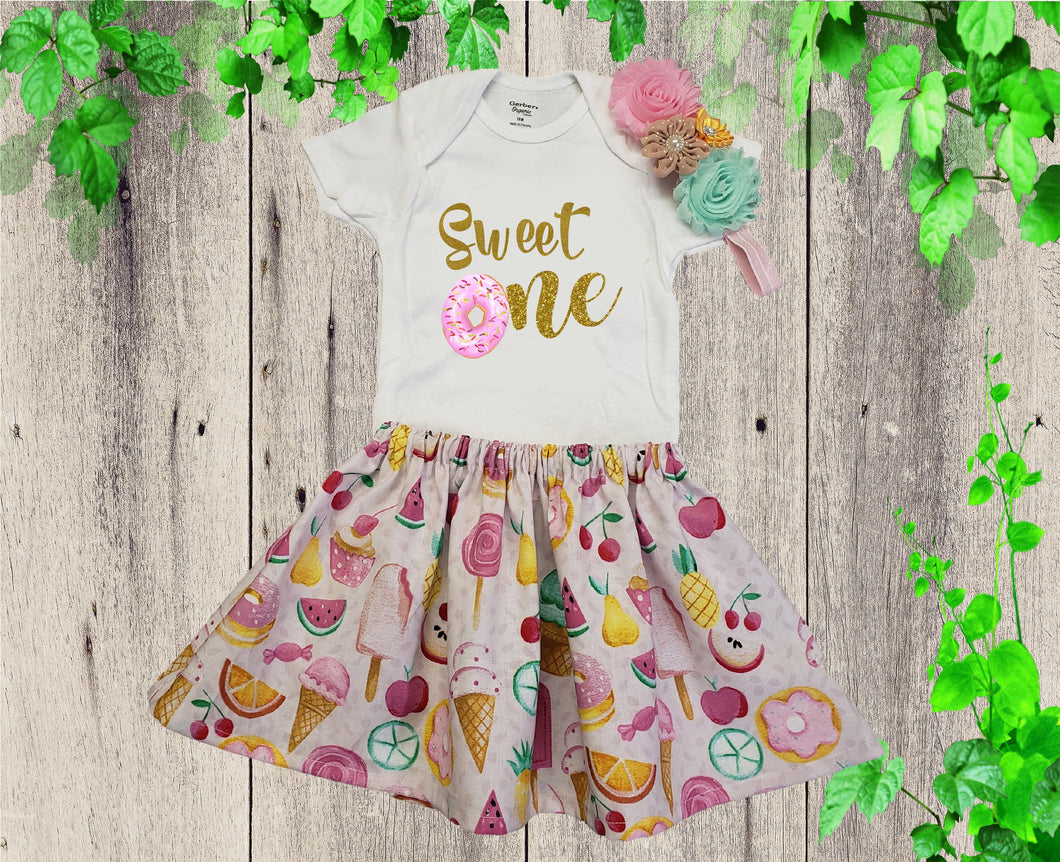 DONUTS BABY ONESIE - Baby Birthday Onesie - Donuts Baby Outfit - Sweet Baby Dress - Baby Girl Onesie - Baby Cotton Dress