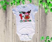 Load image into Gallery viewer, FIRST CHRISTMAS ONESIE.  onesie Reindeer First Christmas  baby onesie