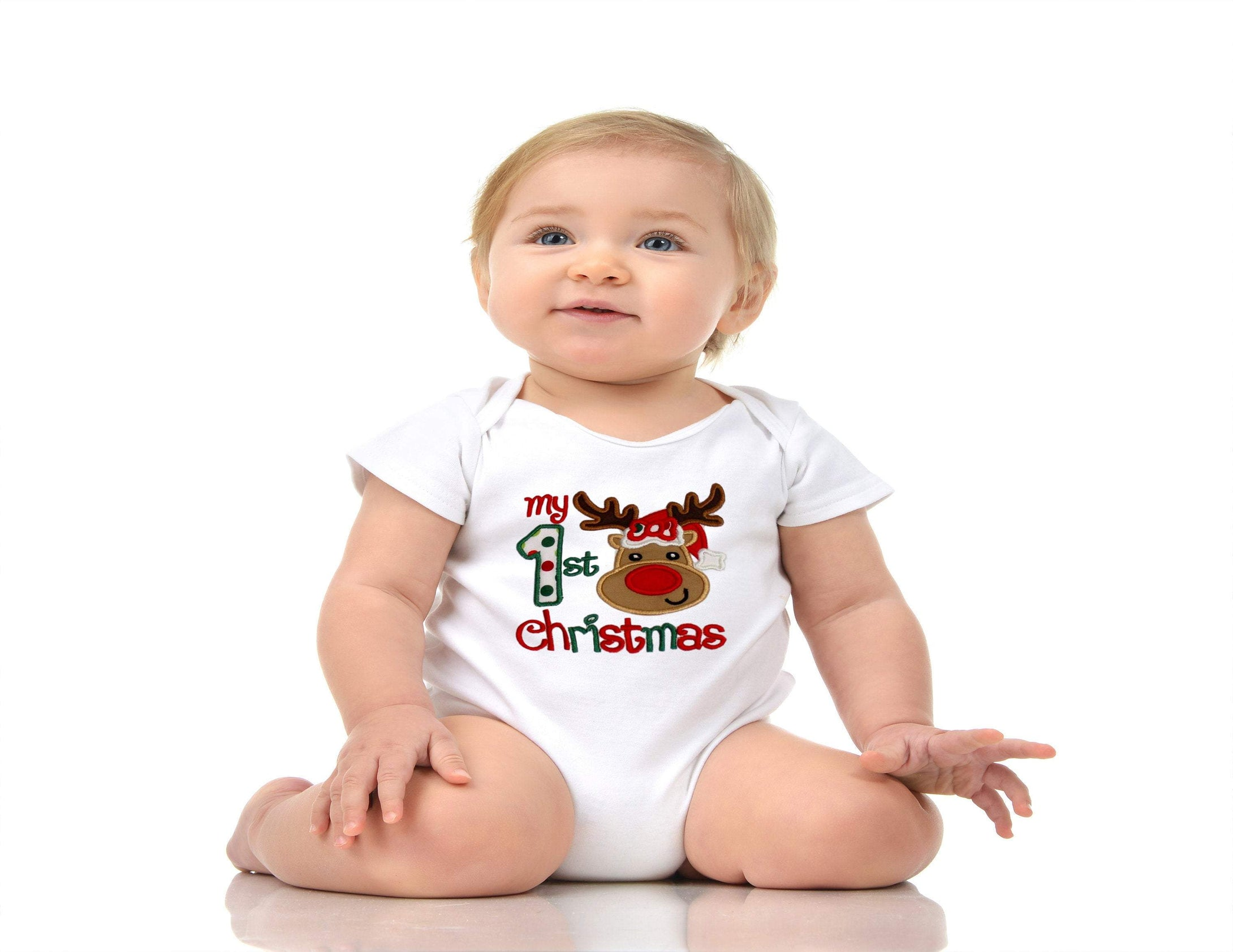 FIRST CHRISTMAS ONESIE.  onesie Reindeer First Christmas  baby onesie