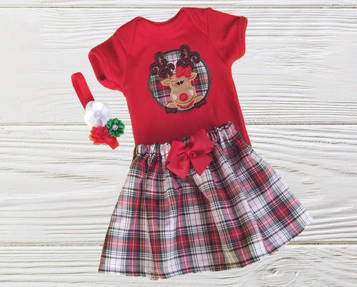 FIRST CHRSITMAS OUTFIT  Baby Christmas  outfit  Toddler Girl Christmas dress Christmas Reindeer outfit Personalized Christmas outfit