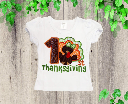 First Thanksgiving shirt Girl fall shirt Custom shirt 1st Thanksgiving embroider shirt