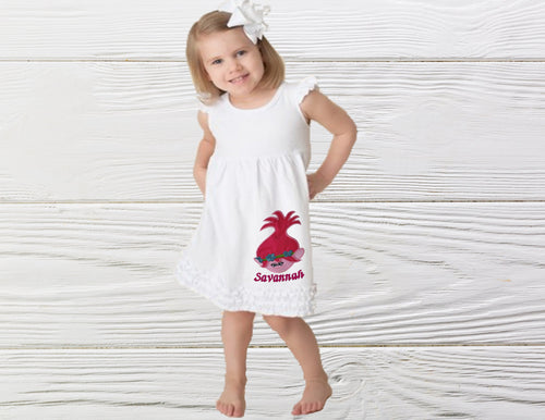 Girl pullover dress Troll birthday dress Toddler Poppy Troll birthday dress Personalized  dress