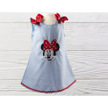 Load image into Gallery viewer, GIRLS MINNIE DRESS. Birthday dress. Minnie Mouse baby  dress. Personalized Minnie A-line dress