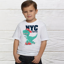 Load image into Gallery viewer, NYC Dinosaurs Squad Skater Boys Shirts  - birthday shirt -  boys  shirt -  Dinosaurs shirt - Little boys NYC Dino shirts  - Boys shirts