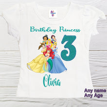 Load image into Gallery viewer, Princess birthday shirt - Personalized Princess shirt - Girls birthday shirts -Toddler birthday shirt - Graphic tees - Custom shirts