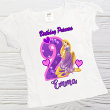 Load image into Gallery viewer, Princess Rapunzel  birthday shirt - Personalized Rapunzel shirt -Girls birthday shirts -Toddler Rapunzel shirt -Graphic tees - Custom shirts