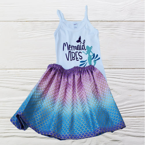 MERMAID BIRTHDAY OUTFIT - Baby First Birthday - Mermaid girls tan top set -  Birthday Dress - Birthday Outfit - Girls clothes set