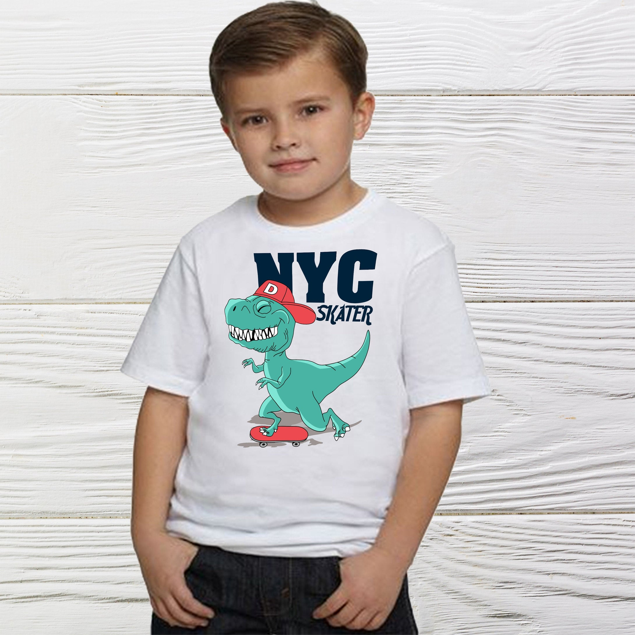 NYC Dinosaurs Squad Skater Boys Shirts  - birthday shirt -  boys  shirt -  Dinosaurs shirt - Little boys NYC Dino shirts  - Boys shirts