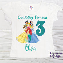 Load image into Gallery viewer, Princess shirt -  Disney Princess  Birthday shirts -  Girl  shirts - Birthday toddler - Ariel Belle Jasmin Cinderella shirt - Toddler Shirts