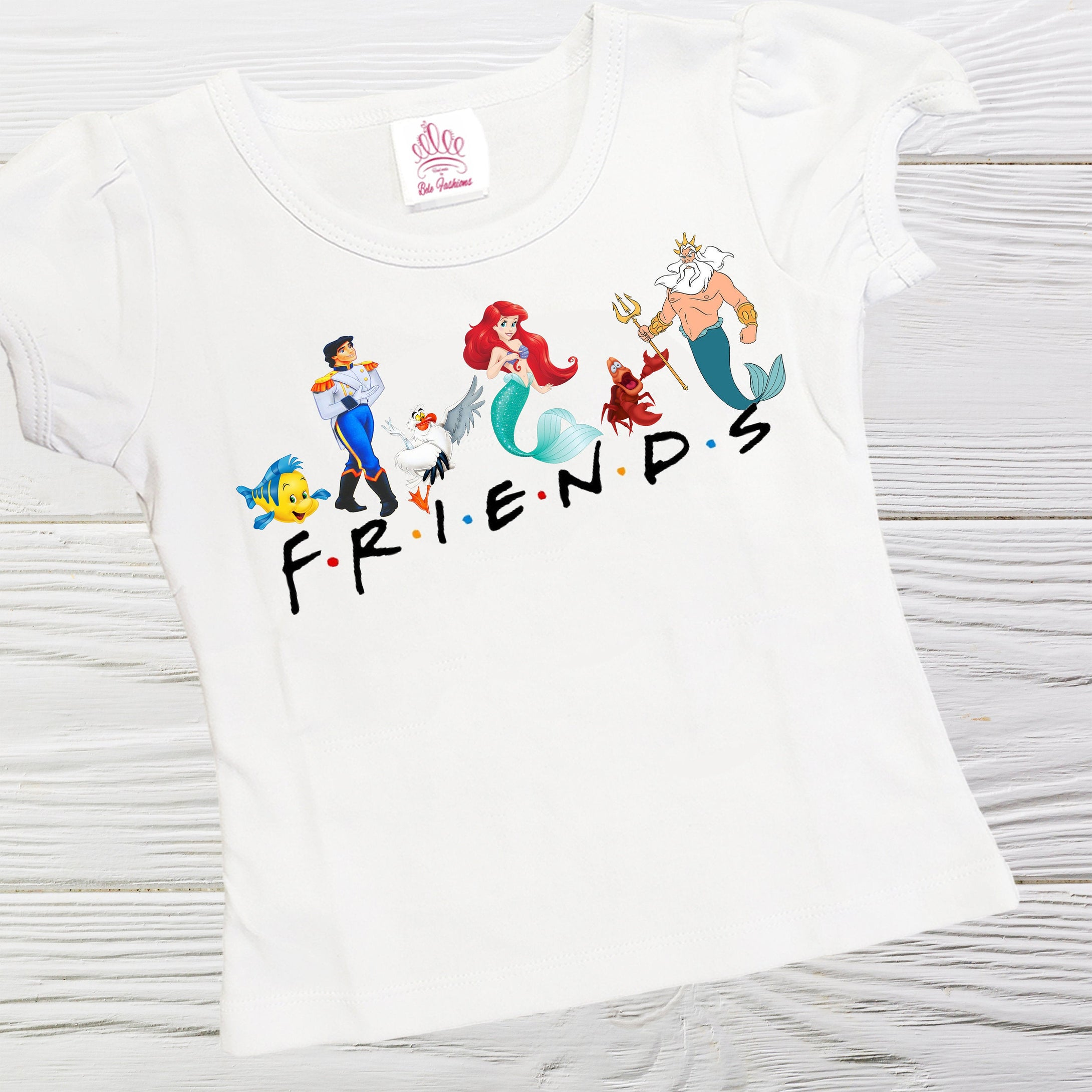 Little Mermaid  Friends shirt - Little Mermaid  and friends girls shirts - Friends shirt - Girls shirts -Ariel Friends